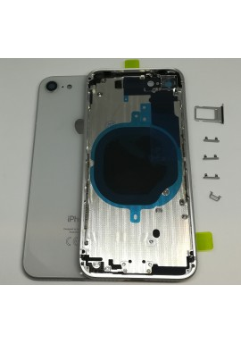 BACK COVER SCOCCA POSTERIORE TELAIO IPHONE 8 8G Argento Bianco