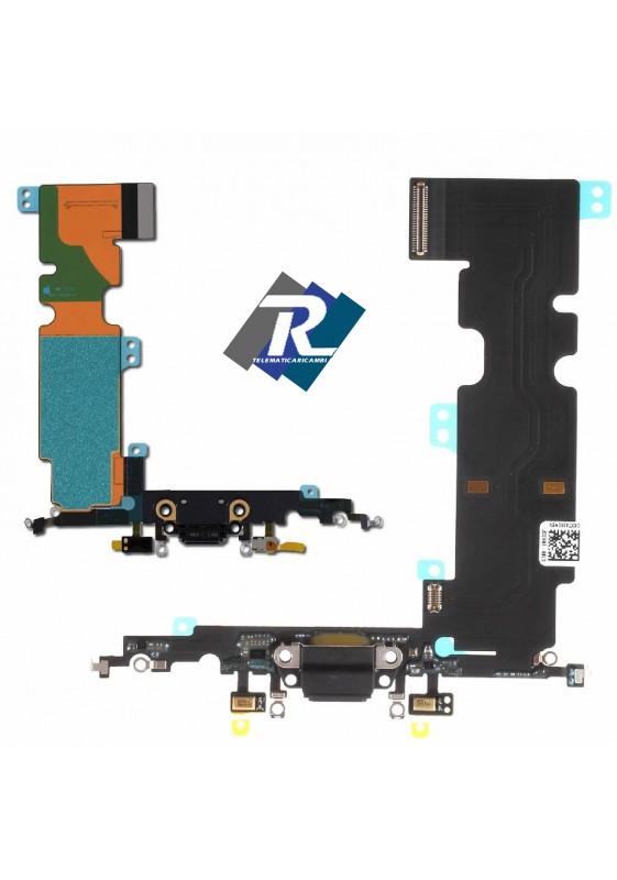 Flex Flat Dock Connettore Ricarica Microfono Dati Antenna iPhone 8 plus Nero
