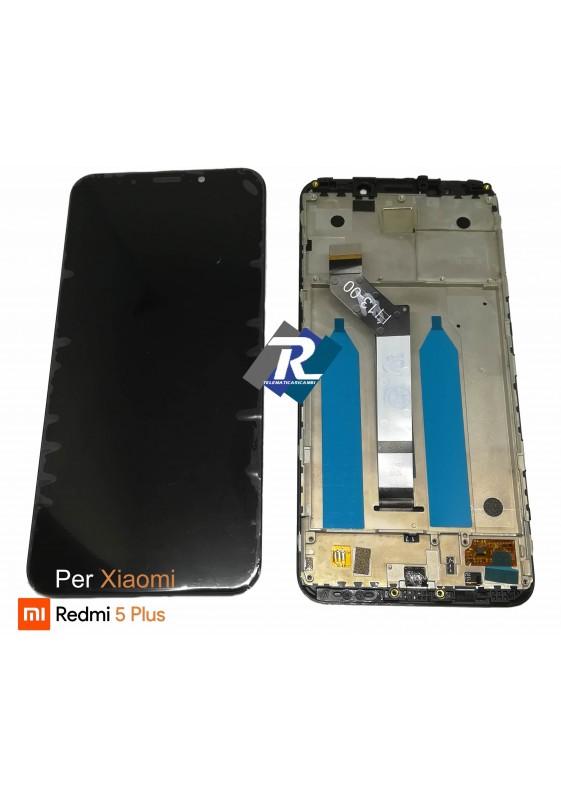 TOUCH SCREEN VETRO LCD DISPLAY PER XIAOMI REDMI 5 PLUS NERO + FRAME