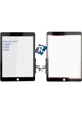 TOUCH SCREEN VETRO PER iPad 5 Air 2017 A1822 A1823 Nero No tasto Home + Adesivi