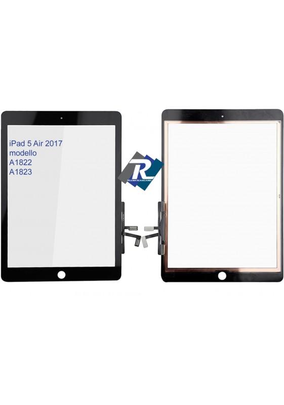 TOUCH SCREEN VETRO PER iPad 5 Air 2017 A1822 A1823 Nero No tasto Home + Adesivi