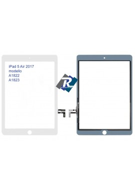 TOUCH SCREEN VETRO PER iPad 5 Air 2017 A1822 A1823 Bianco no tasto Home +Adesivi