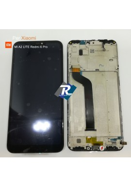 TOUCH SCREEN VETRO LCD DISPLAY PER XIAOMI MI A2 LITE Redmi 6 Pro NERO + FRAME
