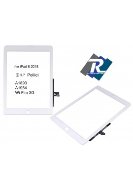 TOUCH SCREEN iPad 6 2018 Wi-Fi 3G A1893 A1954 BIANCO NO TASTO HOME + ADESIVI