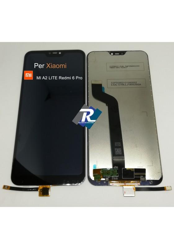 TOUCH SCREEN VETRO LCD DISPLAY PER XIAOMI MI A2 LITE Redmi 6 Pro NERO NO FRAME