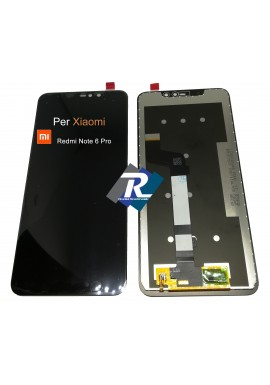TOUCH SCREEN VETRO LCD DISPLAY PER XIAOMI Redmi Note 6 Pro NERO NO FRAME