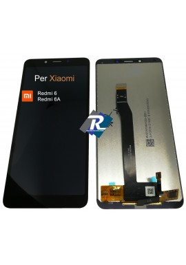 TOUCH SCREEN VETRO LCD DISPLAY PER XIAOMI Redmi 6 - 6A NERO NO FRAME