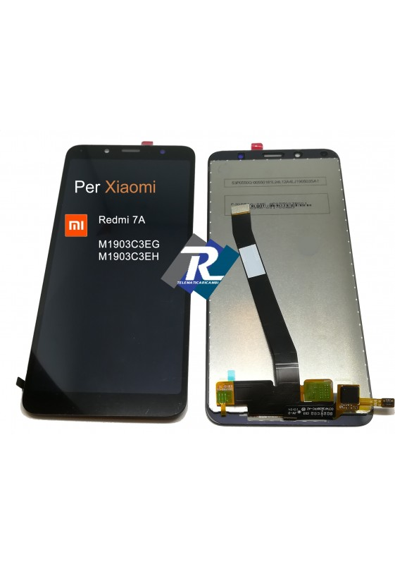 TOUCH SCREEN VETRO LCD DISPLAY PER REDMI 7A M1903C3EG M1903C3EH NERO NO FRAME