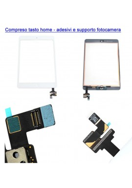 TOUCH SCREEN VETRO IPAD MINI 2 A1489 A1490 A1491 TASTO HOME + IC + ADESIVI BIANCO