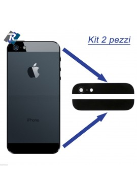 SET KIT COPPIA 2 VETRI VETRINI PER BACK COVER POSTERIORE IPHONE 5 5G NERO