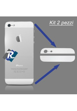 SET KIT COPPIA 2 VETRI VETRINI PER BACK COVER POSTERIORE IPHONE 5S 5 S BIANCO