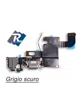 Flex Flat Dock Connettore Ricarica Microfono Jack Cuffie IPHONE 6 Grigio scuro